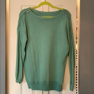 jCrew sweater in green with zippers on shoulder